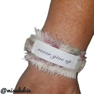 Never Give Up Bracelet Cuff Positive Vibes Quote